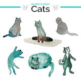 Funny cats with watercolor texture. Cute cats in grey and green colors. Royalty Free Stock Photo