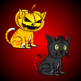 Funny Cats wearing devil costume for Halloween. Vector illustration Royalty Free Stock Image