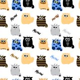 Funny cats on white background. Pattern in child style Stock Image