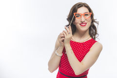 Funny Caucasian Brunette Woman With Artistic Spectacles In Front Of Face. Youth Lifestyles Ideas. Portrait of Sensual Funny Caucasian Brunette Woman With Royalty Free Stock Image