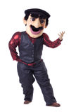 Funny caucasian man posing in mascot costume Royalty Free Stock Image