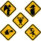 Funny Caution Signs Royalty Free Stock Photos