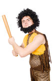 Funny cave man with baseball bat isolated Stock Photo