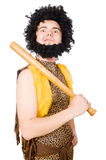 Funny cave man with baseball bat isolated Stock Image