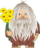 Funny cave man: savage with flowers. Funny cave person: savage with flowers – cartoon, vector, illustration Stock Photos