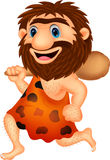 Funny caveman cartoon running Royalty Free Stock Photography