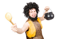 Funny caveman with pot isolated Stock Images