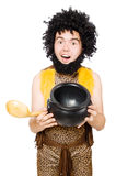 Funny caveman with pot isolated Royalty Free Stock Images