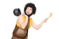 Funny caveman with pot isolated Royalty Free Stock Image