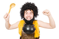 Funny caveman with pot isolated Royalty Free Stock Photography