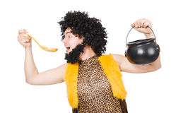 Funny caveman with pot isolated Stock Photo