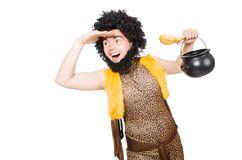 Funny caveman with pot Stock Photo