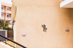 Funny ceramic lizard attached to the stucco wall of rural house. Architectural detail of typical house in Mediterranean Royalty Free Stock Image