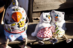 Funny ceramic statuettes. Of animals Royalty Free Stock Image