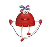 Funny character. Funny cartoon game character, jumping skipping rope Stock Photography