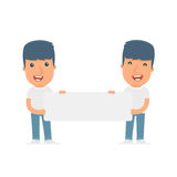 Funny Character Activist holds and interacts with blank forms. Or objects. Poses for interaction with other characters from this series Royalty Free Stock Image