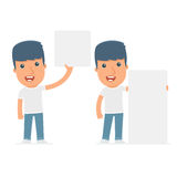 Funny Character Activist holds and interacts with blank forms. Or objects. for use in presentations, etc Stock Photo