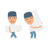 Funny Character Activist holds and interacts with blank forms. Or objects. for use in presentations, etc Royalty Free Stock Photos