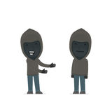 Funny Character Anonymous Hackers introduces his shy friend Stock Image