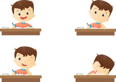 Funny character boy studying in school. Vector Illustration of funny character boy studying in school isolated on white Royalty Free Stock Images