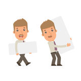 Funny Character Broker holds and interacts with blank forms Royalty Free Stock Photos