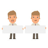 Funny Character Broker holds and interacts with blank forms Royalty Free Stock Images