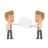Funny Character Broker holds and interacts with blank forms Stock Images