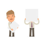 Funny Character Broker holds and interacts with blank forms Stock Image