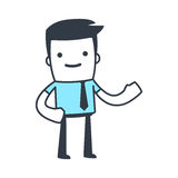 Funny Character Businessman Line art style Stock Photo