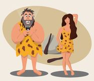 The funny character of the caveman stared at the mobile phone, not paying attention to the beautiful cave girl attracting his atte vector illustration