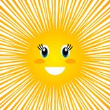 Funny character of the children`s sun with a smile and a face. flat vector illustration isolated. On white background stock illustration