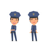 Funny Character Constabulary in confident and shy poses Stock Image