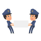 Funny Character Constabulary holds and interacts with blank form Royalty Free Stock Photos