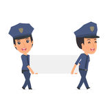 Funny Character Constabulary holds and interacts with blank form Royalty Free Stock Image