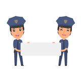 Funny Character Constabulary holds and interacts with blank form Stock Photo