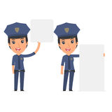 Funny Character Constabulary holds and interacts with blank form Stock Photos