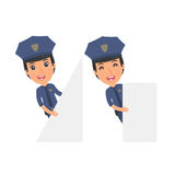 Funny Character Constabulary holds and interacts with blank form Stock Photography