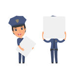 Funny Character Constabulary holds and interacts with blank form Stock Image