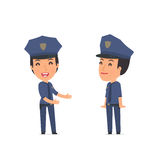 Funny Character Constabulary introduces his shy friend Stock Photo