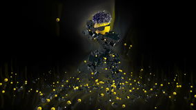 Funny Character Dancing, surrounded by colorful lights, against black