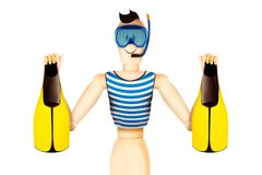 Funny character in diving mask holding flippers. Summer holidays, travel vacation concept. Realistic 3D illustration royalty free illustration