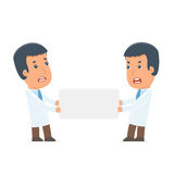 Funny Character Doctor holds and interacts with blank forms or o Royalty Free Stock Photography