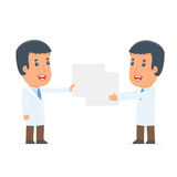 Funny Character Doctor holds and interacts with blank forms or o Royalty Free Stock Photos
