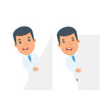 Funny Character Doctor holds and interacts with blank forms or o Royalty Free Stock Image