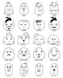 Funny character faces avatars. Royalty Free Stock Images