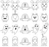 Funny character faces avatars. Doodle style vector icons set Royalty Free Illustration