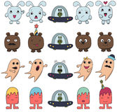 Funny character faces avatars. Royalty Free Stock Photography