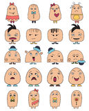 Funny character faces avatars.Doodle style vector icons set. Stock Photo