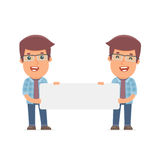 Funny Character Freelancer holds and interacts with blank forms Stock Photo