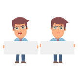 Funny Character Freelancer holds and interacts with blank forms Royalty Free Stock Image